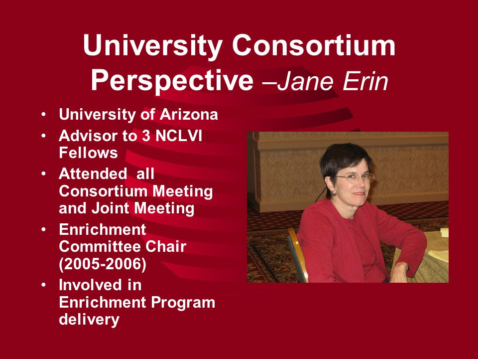 University Consortium Perspective –Jane Erin University of Arizona Advisor to 3 NCLVI Fellows Attended all Consortium Meeting and Joint Meeting Enrichment Committee Chair (2005-2006) Involved in Enrichment Program delivery