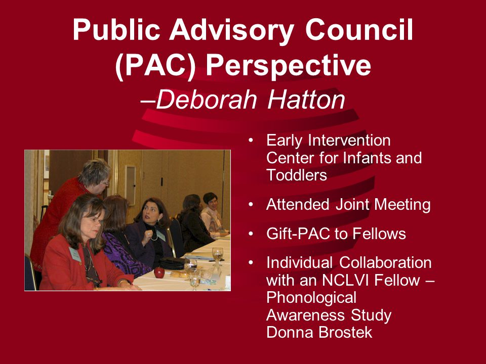 Public Advisory Council (PAC) Perspective –Deborah Hatton Early Intervention Center for Infants and Toddlers Attended Joint Meeting Gift-PAC to Fellows Individual Collaboration with an NCLVI Fellow – Phonological Awareness Study Donna Brostek