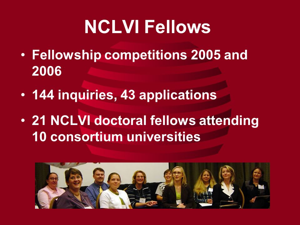 NCLVI Fellows Fellowship competitions 2005 and 2006 144 inquiries, 43 applications 21 NCLVI doctoral fellows attending 10 consortium universities