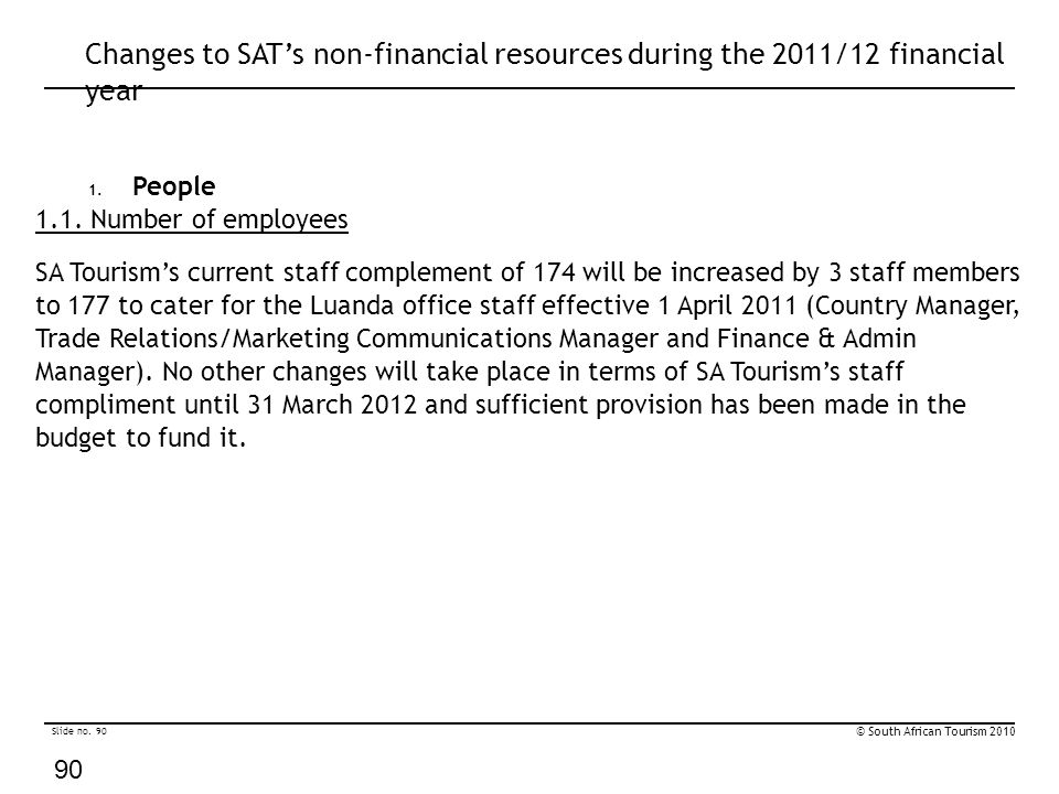Slide no. 90 © South African Tourism 2010 90 Changes to SAT's non-financial resources during the 2011/12 financial year 1. People 1.1. Number of emplo