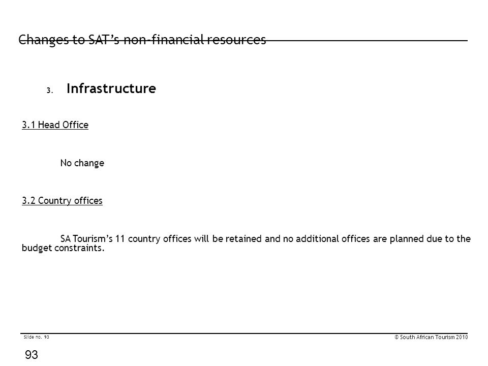 Slide no. 93 © South African Tourism 2010 93 Changes to SAT's non-financial resources 3. Infrastructure 3.1 Head Office No change 3.2 Country offices