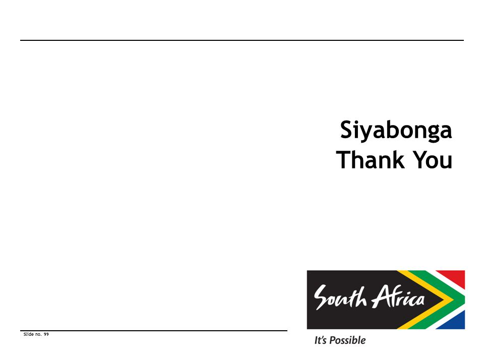Slide no. 99 © South African Tourism 2010 Slide no. 99 © South African Tourism 2010 Siyabonga Thank You
