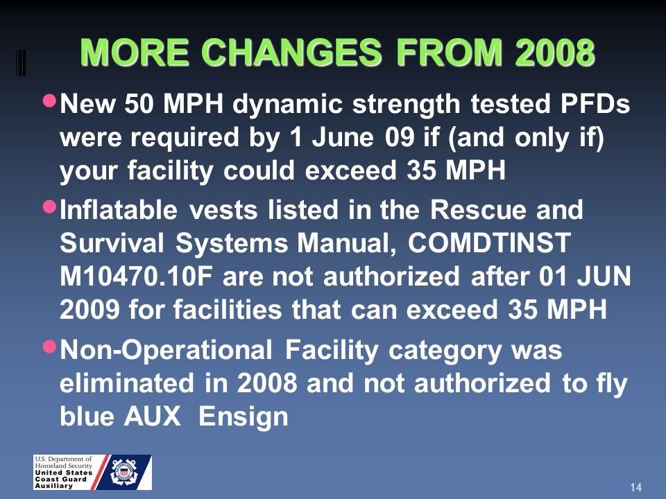 MORE CHANGES FROM 2008 New 50 MPH dynamic strength tested PFDs were required by 1 June 09 if (and only if) your facility could exceed 35 MPH Inflatable vests listed in the Rescue and Survival Systems Manual, COMDTINST M10470.10F are not authorized after 01 JUN 2009 for facilities that can exceed 35 MPH Non-Operational Facility category was eliminated in 2008 and not authorized to fly blue AUX Ensign 14