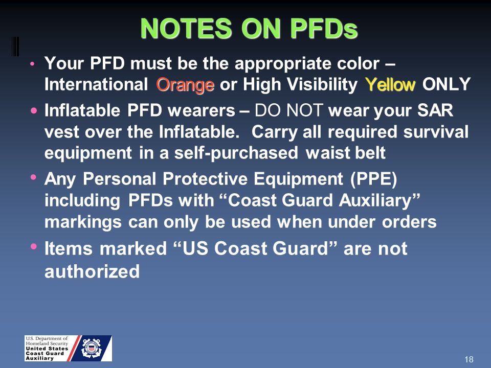 NOTES ON PFDs Orange Yellow Your PFD must be the appropriate color – International Orange or High Visibility Yellow ONLY Inflatable PFD wearers – DO NOT wear your SAR vest over the Inflatable.