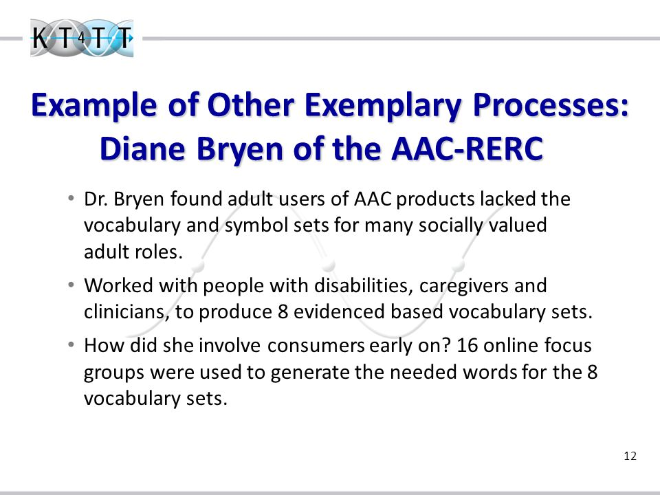 12 Example of Other Exemplary Processes: Diane Bryen of the AAC-RERC Dr.