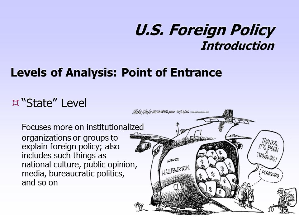"""10 U.S. Foreign Policy Introduction Levels of Analysis: Point of Entrance  """"State"""" Level Focuses more on institutionalized organizations or groups to"""