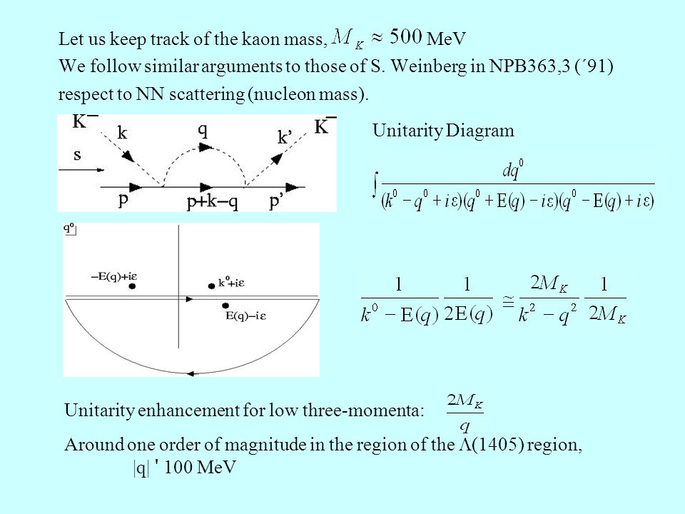 Let us keep track of the kaon mass, MeV We follow similar arguments to those of S.