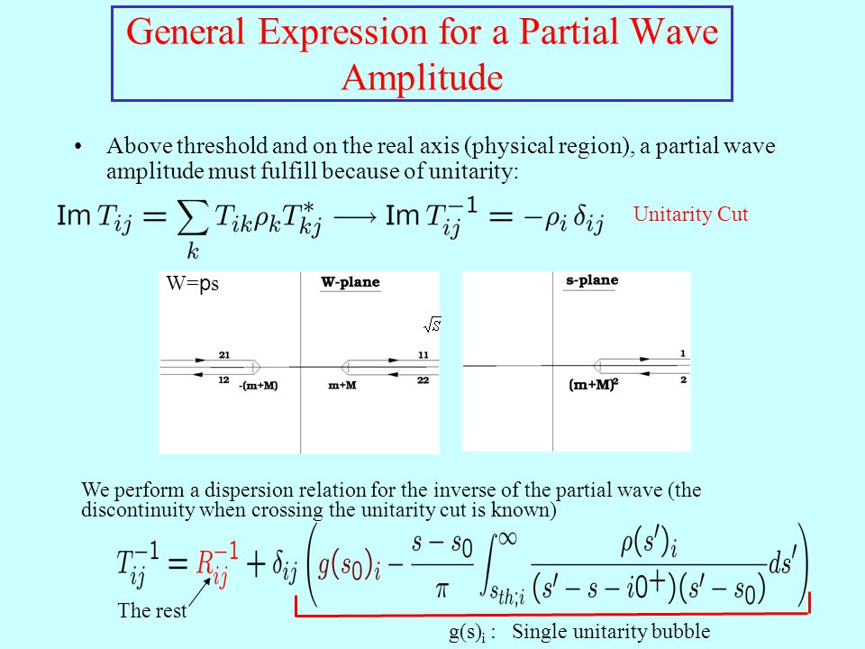 Above threshold and on the real axis (physical region), a partial wave amplitude must fulfill because of unitarity: General Expression for a Partial W