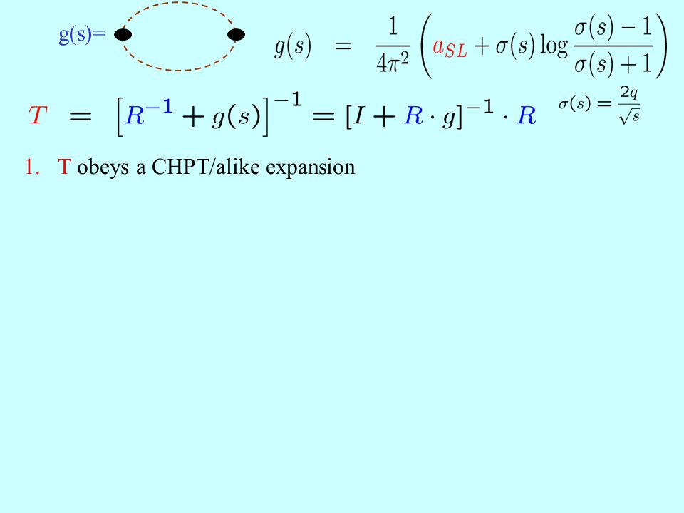 g(s)= 1.T obeys a CHPT/alike expansion