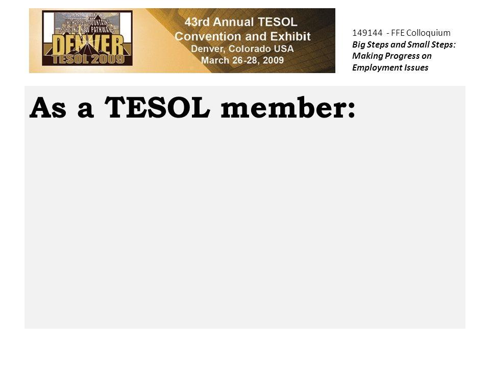 As a TESOL member: