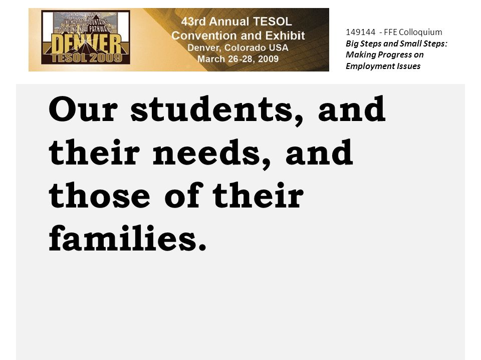 COPTEC Our students, and their needs, and those of their families.