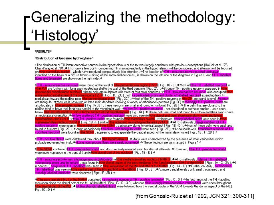 Generalizing the methodology: 'Histology' [from Gonzalo-Ruiz et al 1992, JCN 321: 300-311]