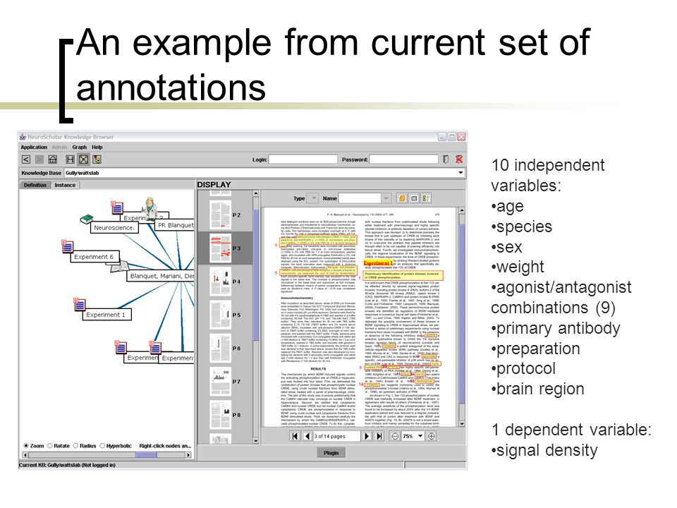An example from current set of annotations 10 independent variables: age species sex weight agonist/antagonist combinations (9) primary antibody preparation protocol brain region 1 dependent variable: signal density