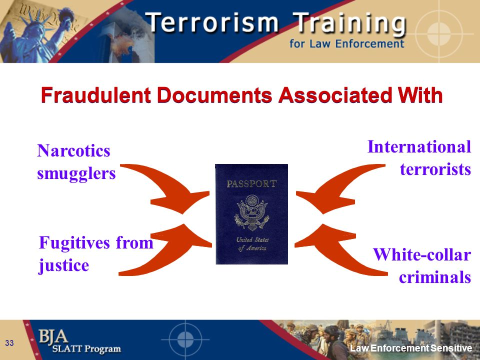 Law Enforcement Sensitive 33 Fraudulent Documents Associated With Narcotics smugglers Fugitives from justice International terrorists White-collar cri