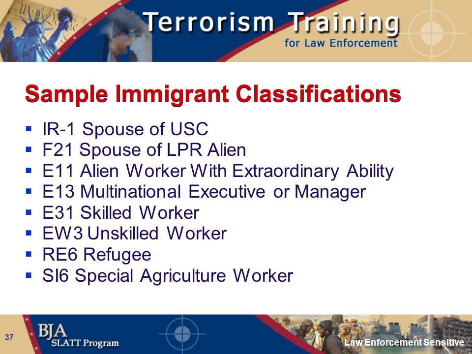 Law Enforcement Sensitive 37 Sample Immigrant Classifications  IR-1 Spouse of USC  F21 Spouse of LPR Alien  E11 Alien Worker With Extraordinary Abi