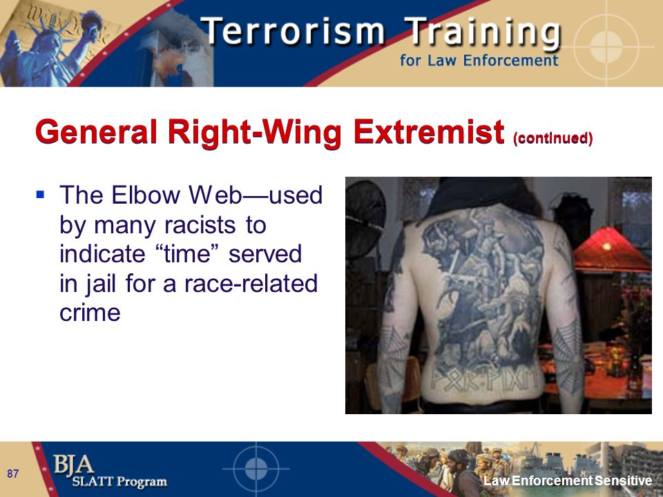 "Law Enforcement Sensitive 87 General Right-Wing Extremist (continued)  The Elbow Web—used by many racists to indicate ""time"" served in jail for a rac"