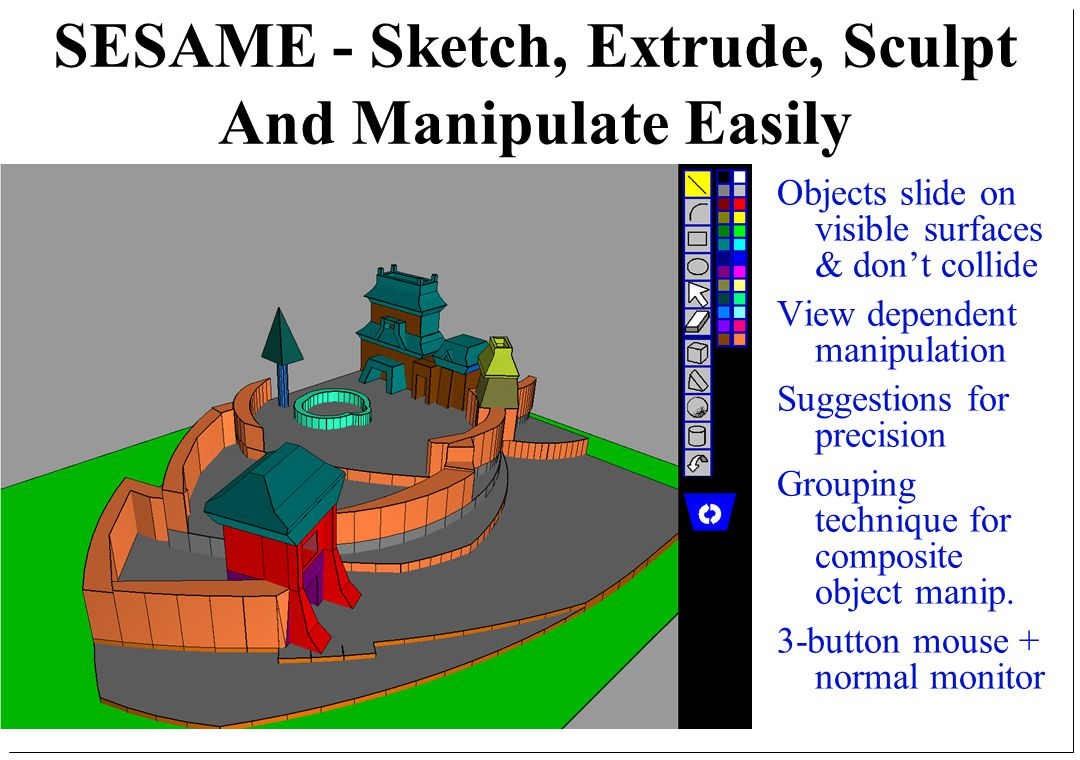 SESAME - Sketch, Extrude, Sculpt And Manipulate Easily Objects slide on visible surfaces & don't collide View dependent manipulation Suggestions for precision Grouping technique for composite object manip.