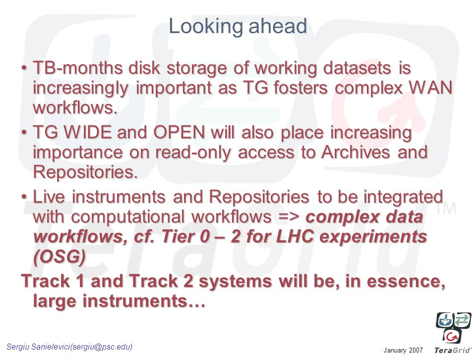 Sergiu Sanielevici(sergiu@psc.edu) January 2007 Looking ahead TB-months disk storage of working datasets is increasingly important as TG fosters compl