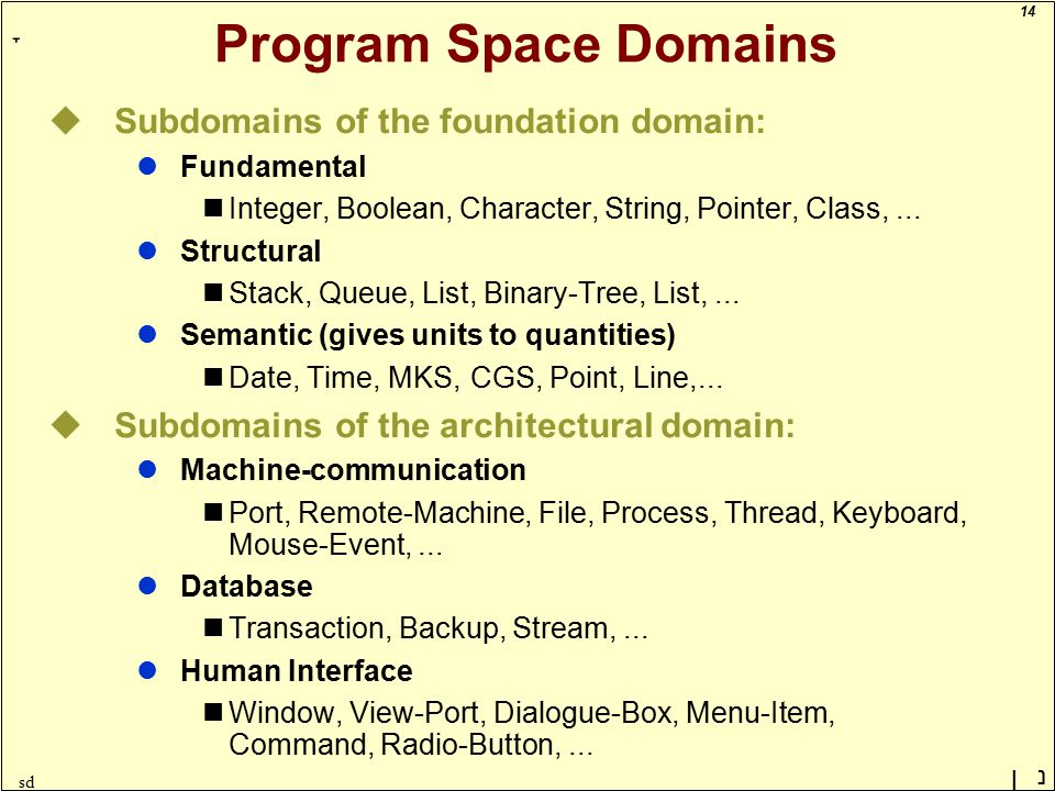 14 ָ נן sd Program Space Domains uSubdomains of the foundation domain: lFundamental Integer, Boolean, Character, String, Pointer, Class,...