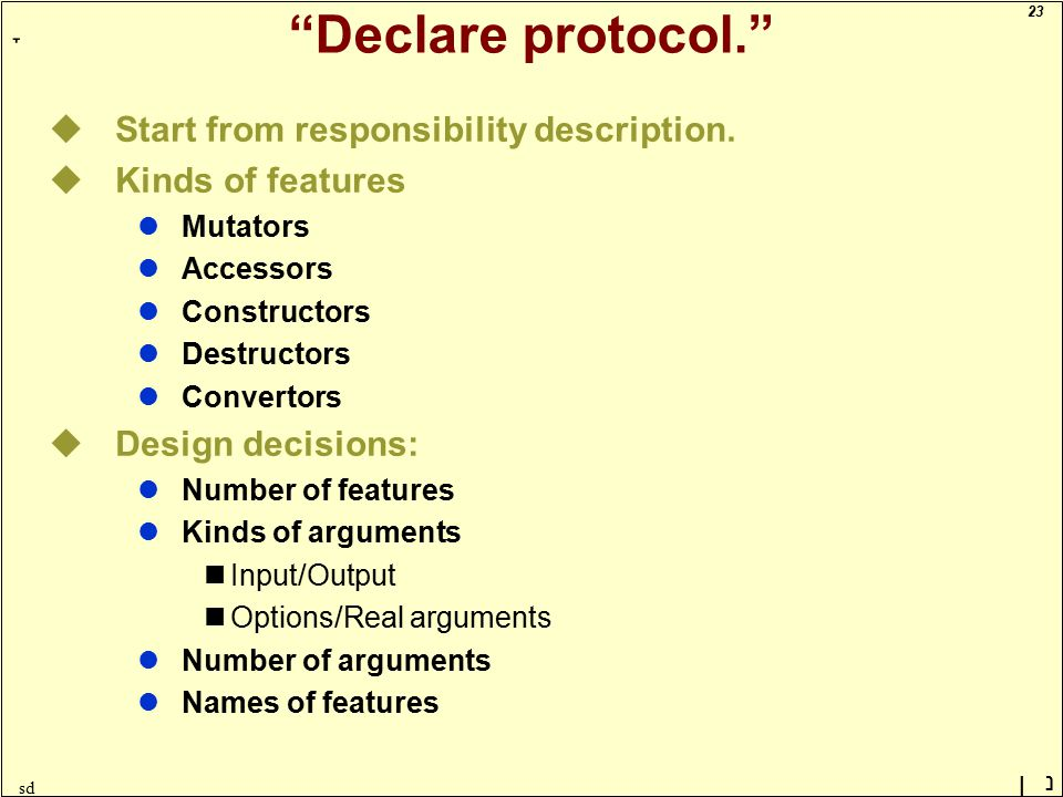 23 ָ נן sd Declare protocol. uStart from responsibility description.