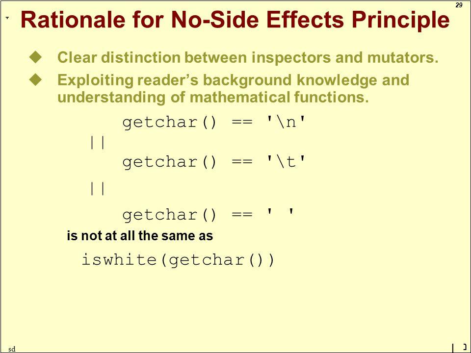 29 ָ נן sd Rationale for No-Side Effects Principle uClear distinction between inspectors and mutators.