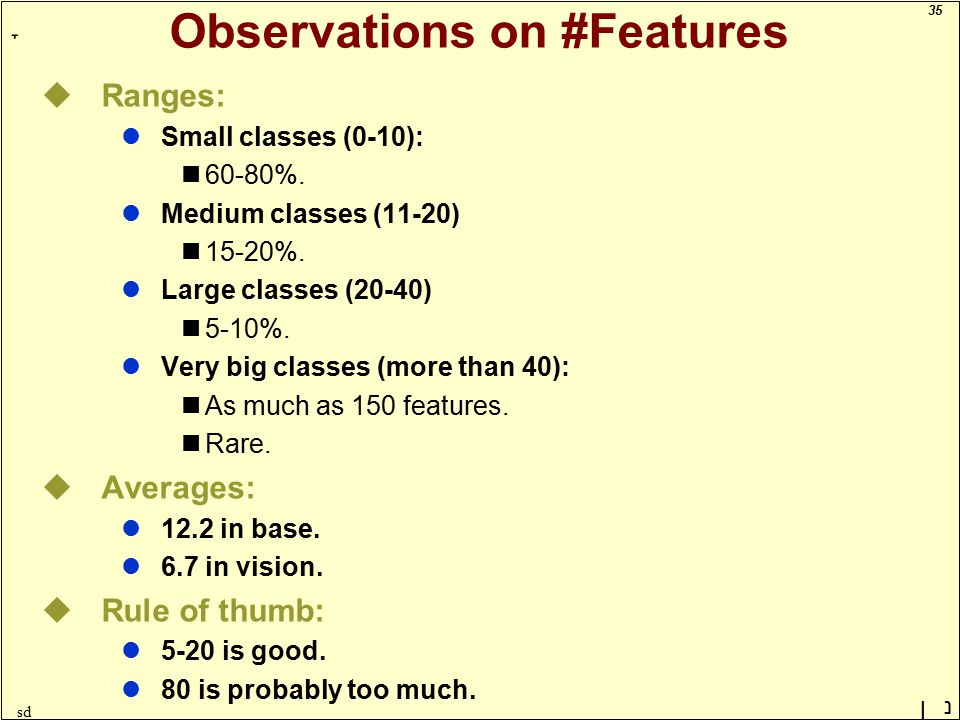35 ָ נן sd Observations on #Features uRanges: lSmall classes (0-10): 60-80%.