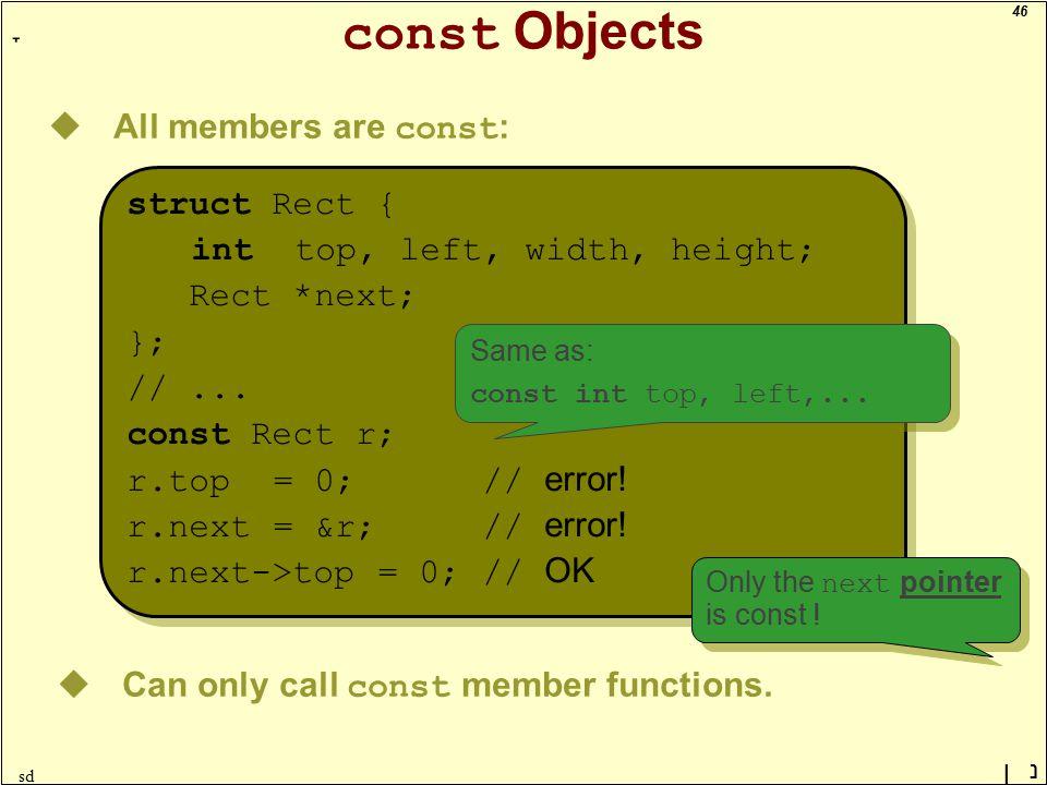 46 ָ נן sd const Objects uAll members are const : struct Rect { int top, left, width, height; Rect *next; }; //... const Rect r; r.top = 0; // error!