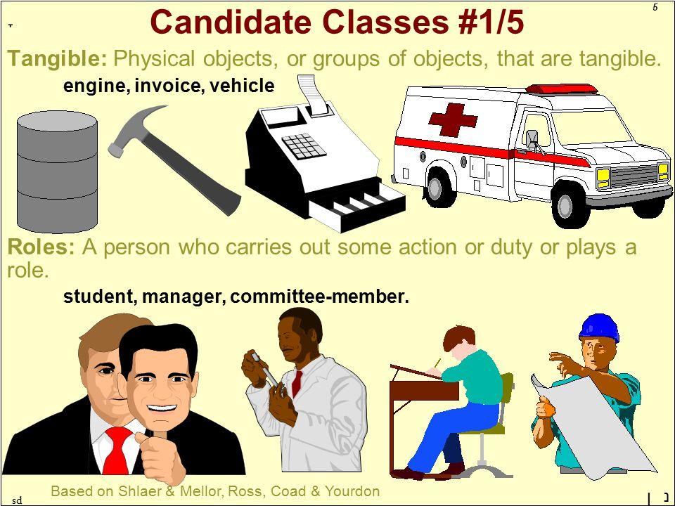 5 ָ נן sd Candidate Classes #1/5 Tangible: Physical objects, or groups of objects, that are tangible. engine, invoice, vehicle Roles: A person who car