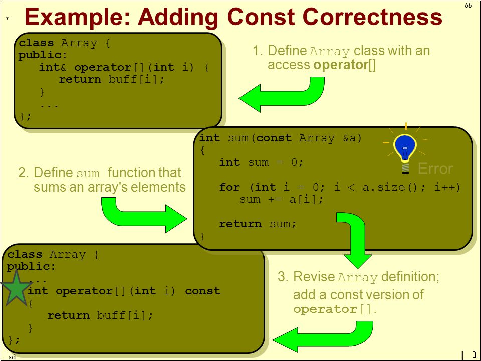 55 ָ נן sd Example: Adding Const Correctness class Array { public: int& operator[](int i) { return buff[i]; }...