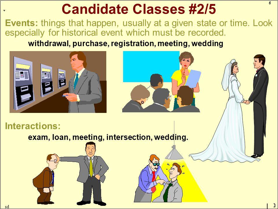 6 ָ נן sd Candidate Classes #2/5 Events: things that happen, usually at a given state or time.