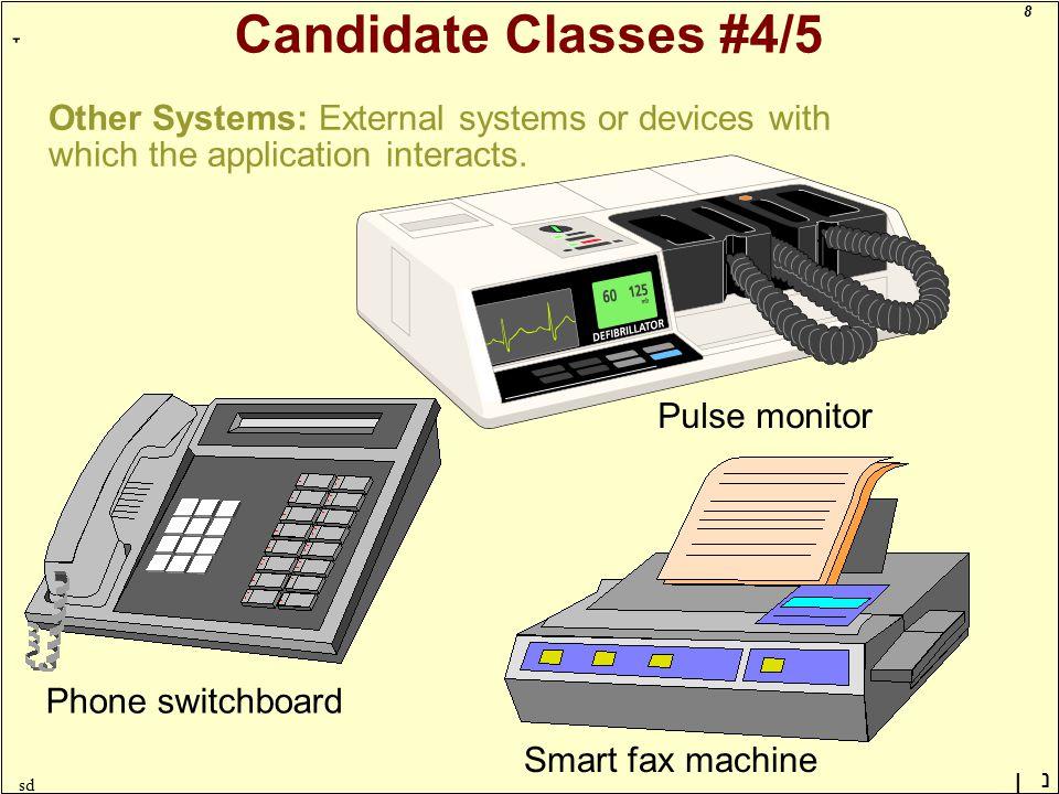 8 ָ נן sd Candidate Classes #4/5 Other Systems: External systems or devices with which the application interacts.