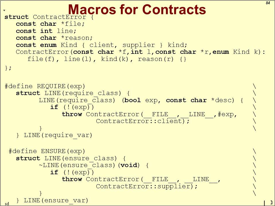 84 ָ נן sd Macros for Contracts struct ContractError { const char *file; const int line; const char *reason; const enum Kind { client, supplier } kind; ContractError(const char *f,int l,const char *r,enum Kind k): file(f), line(l), kind(k), reason(r) {} }; #define REQUIRE(exp) \ struct LINE(require_class) {\ LINE(require_class) (bool exp, const char *desc) {\ if (!(exp))\ throw ContractError(__FILE__,__LINE__,#exp,\ ContractError::client);\ } \ } LINE(require_var) #define ENSURE(exp) \ struct LINE(ensure_class) {\ ~LINE(ensure_class)(void) {\ if (!(exp))\ throw ContractError(__FILE__, __LINE__,\ ContractError::supplier);\ } \ } LINE(ensure_var)