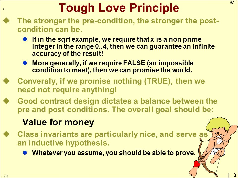 87 ָ נן sd Tough Love Principle uThe stronger the pre-condition, the stronger the post- condition can be.