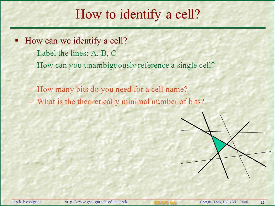 12 Georgia Tech, IIC, GVU, 2006 MAGIC Lab http://www.gvu.gatech.edu/~jarekJarek Rossignac How to identify a cell.