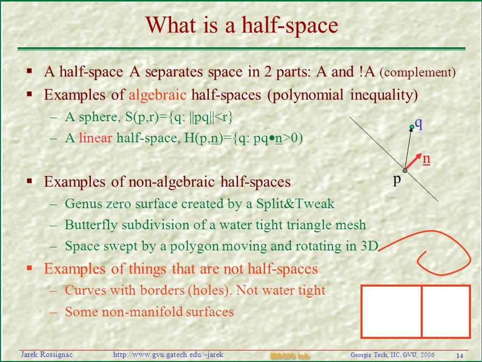 14 Georgia Tech, IIC, GVU, 2006 MAGIC Lab http://www.gvu.gatech.edu/~jarekJarek Rossignac What is a half-space  A half-space A separates space in 2 parts: A and !A (complement)  Examples of algebraic half-spaces (polynomial inequality) –A sphere, S(p,r)={q: ||pq||<r} –A linear half-space, H(p,n)={q: pq  n>0)  Examples of non-algebraic half-spaces –Genus zero surface created by a Split&Tweak –Butterfly subdivision of a water tight triangle mesh –Space swept by a polygon moving and rotating in 3D  Examples of things that are not half-spaces –Curves with borders (holes).