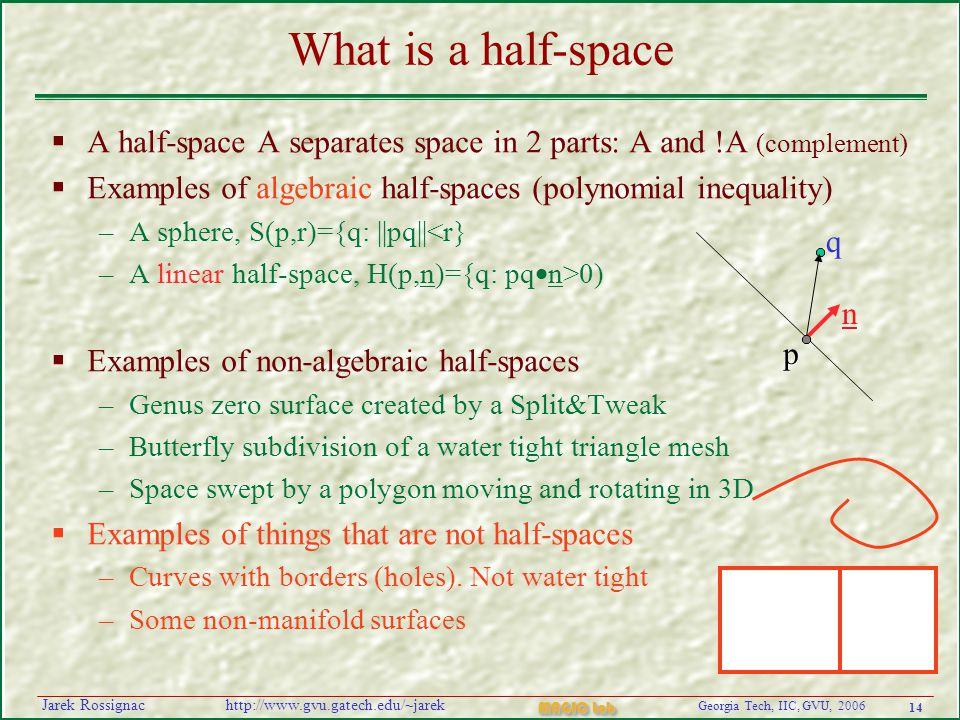 14 Georgia Tech, IIC, GVU, 2006 MAGIC Lab http://www.gvu.gatech.edu/~jarekJarek Rossignac What is a half-space  A half-space A separates space in 2 p