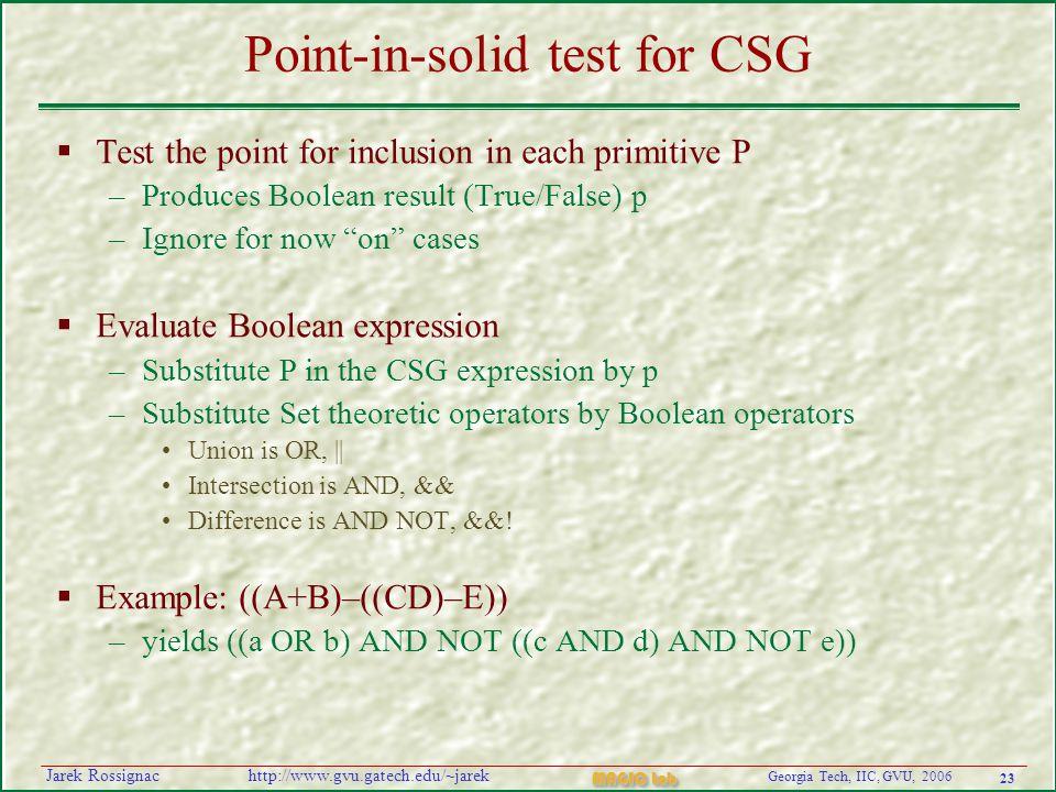 23 Georgia Tech, IIC, GVU, 2006 MAGIC Lab http://www.gvu.gatech.edu/~jarekJarek Rossignac Point-in-solid test for CSG  Test the point for inclusion i