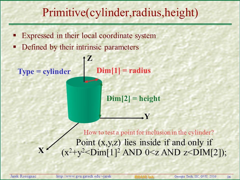 26 Georgia Tech, IIC, GVU, 2006 MAGIC Lab http://www.gvu.gatech.edu/~jarekJarek Rossignac Primitive(cylinder,radius,height)  Expressed in their local