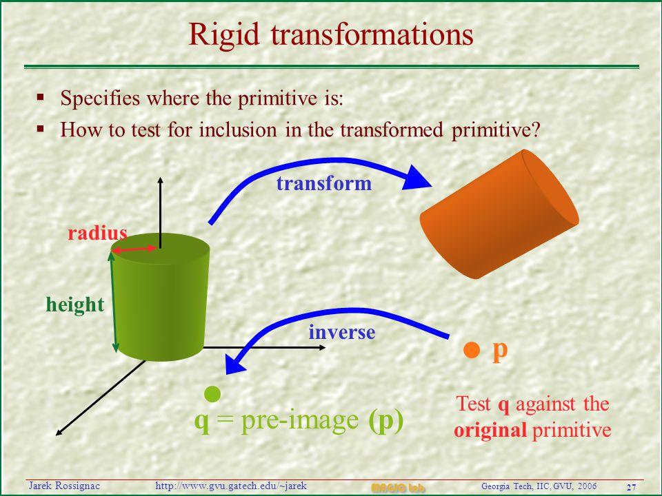 27 Georgia Tech, IIC, GVU, 2006 MAGIC Lab http://www.gvu.gatech.edu/~jarekJarek Rossignac Rigid transformations  Specifies where the primitive is:  How to test for inclusion in the transformed primitive.