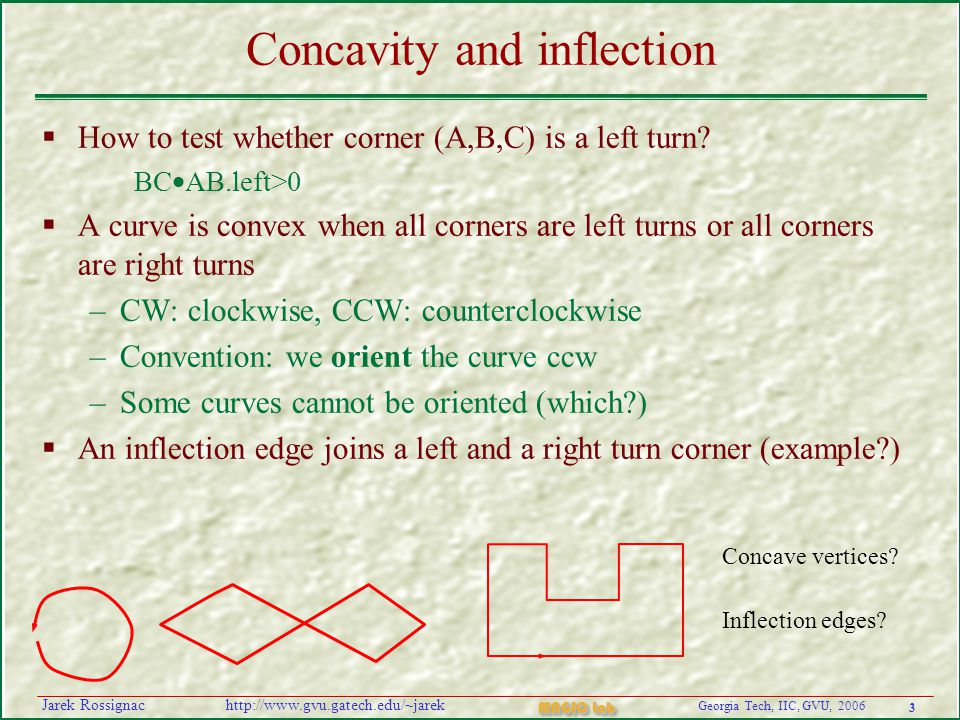 3 Georgia Tech, IIC, GVU, 2006 MAGIC Lab http://www.gvu.gatech.edu/~jarekJarek Rossignac Concavity and inflection  How to test whether corner (A,B,C) is a left turn.