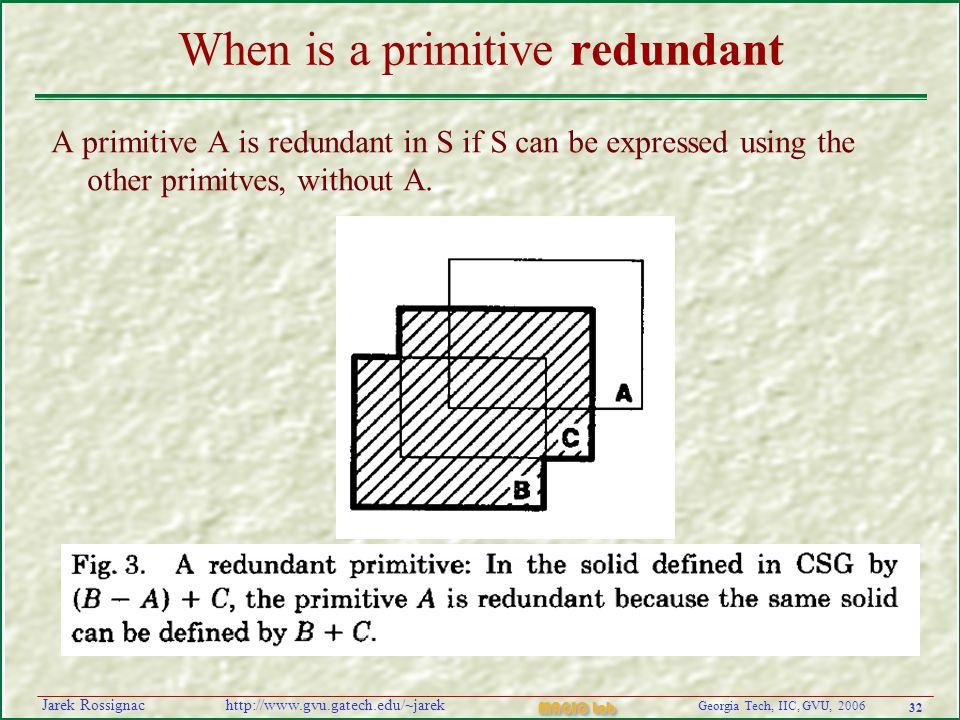 32 Georgia Tech, IIC, GVU, 2006 MAGIC Lab http://www.gvu.gatech.edu/~jarekJarek Rossignac When is a primitive redundant A primitive A is redundant in