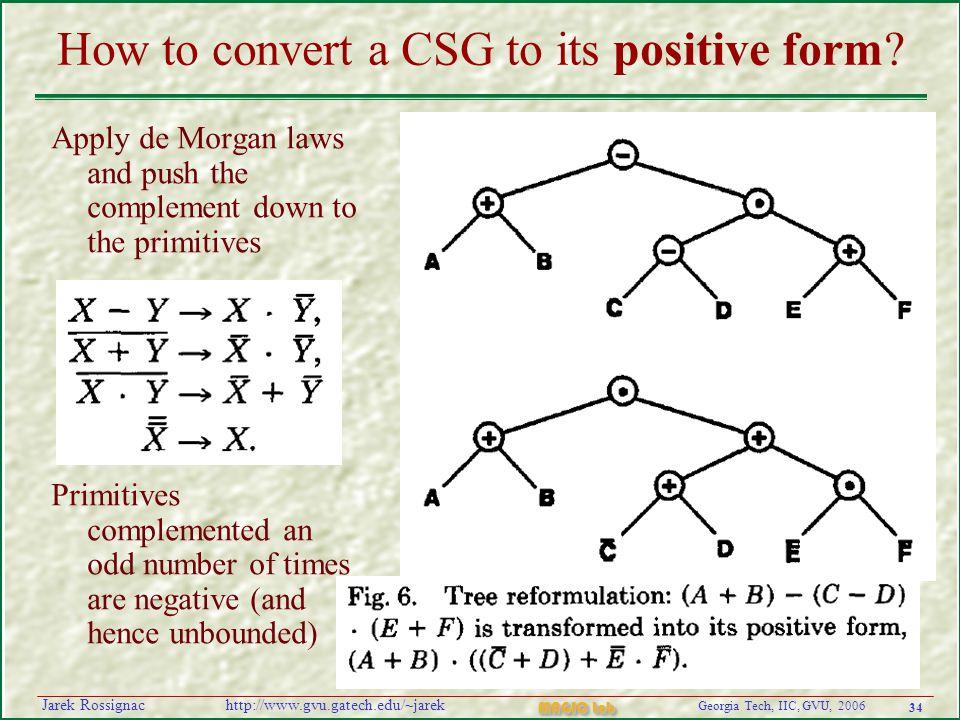 34 Georgia Tech, IIC, GVU, 2006 MAGIC Lab http://www.gvu.gatech.edu/~jarekJarek Rossignac How to convert a CSG to its positive form.