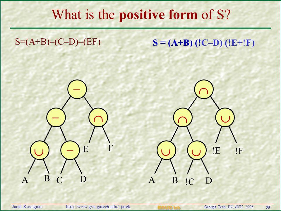 35 Georgia Tech, IIC, GVU, 2006 MAGIC Lab http://www.gvu.gatech.edu/~jarekJarek Rossignac What is the positive form of S.
