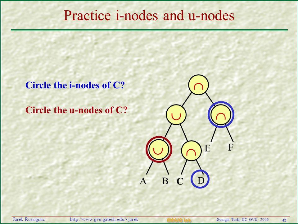 42 Georgia Tech, IIC, GVU, 2006 MAGIC Lab http://www.gvu.gatech.edu/~jarekJarek Rossignac Practice i-nodes and u-nodes   AB C D E F    Circle the i-nodes of C.