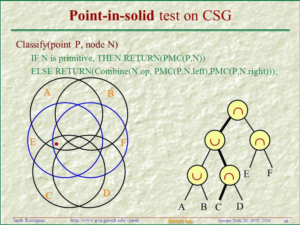 46 Georgia Tech, IIC, GVU, 2006 MAGIC Lab http://www.gvu.gatech.edu/~jarekJarek Rossignac Point-in-solid test on CSG Classify(point P, node N) IF N is primitive, THEN RETURN(PMC(P,N)) ELSE RETURN(Combine(N.op, PMC(P,N.left),PMC(P,N.right)));      AB C D E F A B F E C D