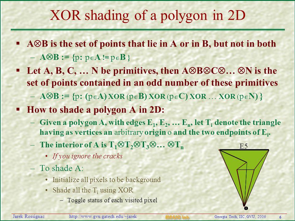 6 Georgia Tech, IIC, GVU, 2006 MAGIC Lab http://www.gvu.gatech.edu/~jarekJarek Rossignac XOR shading of a polygon in 2D  A  B is the set of points t