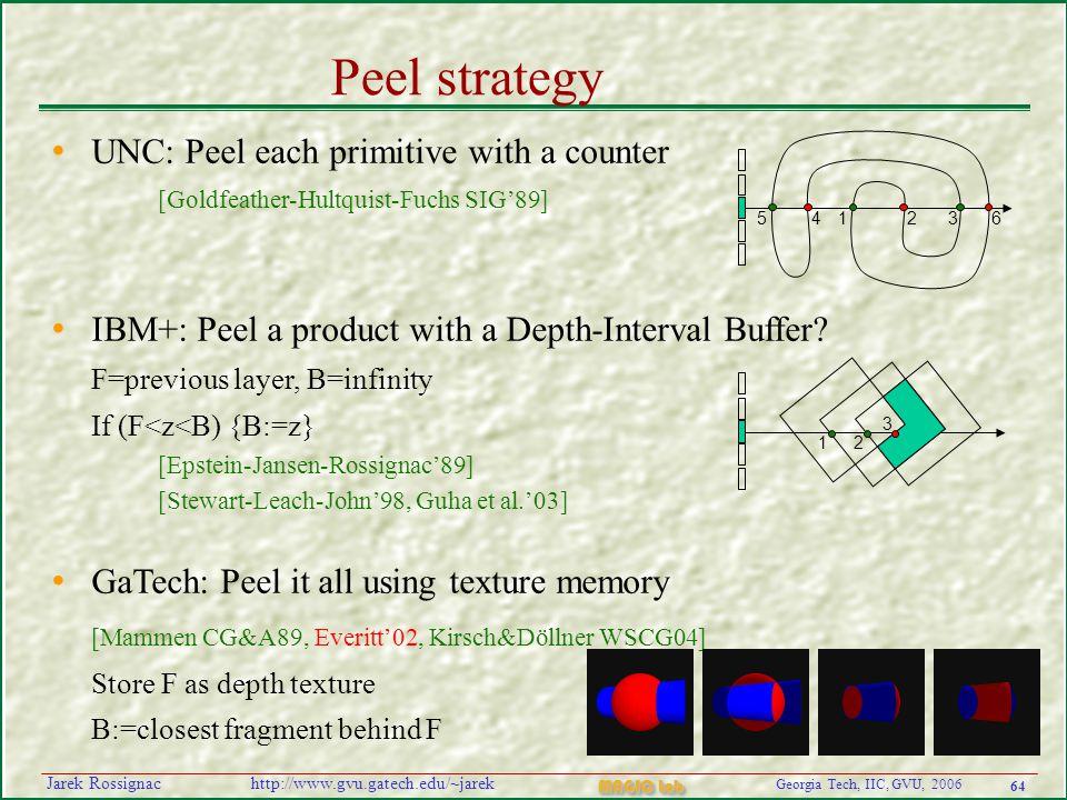 64 Georgia Tech, IIC, GVU, 2006 MAGIC Lab http://www.gvu.gatech.edu/~jarekJarek Rossignac Peel strategy UNC: Peel each primitive with a counter [Goldf