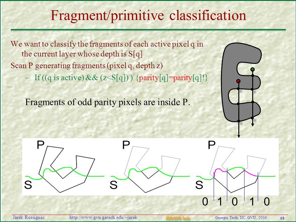 68 Georgia Tech, IIC, GVU, 2006 MAGIC Lab http://www.gvu.gatech.edu/~jarekJarek Rossignac Fragment/primitive classification We want to classify the fr