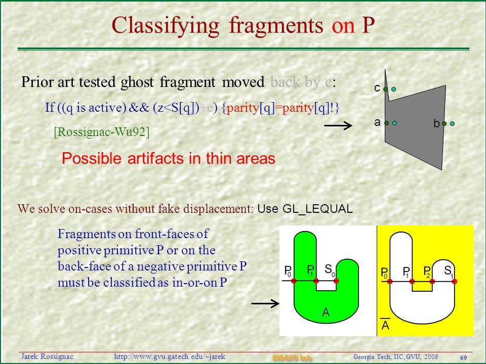 69 Georgia Tech, IIC, GVU, 2006 MAGIC Lab http://www.gvu.gatech.edu/~jarekJarek Rossignac Classifying fragments on P We solve on-cases without fake di