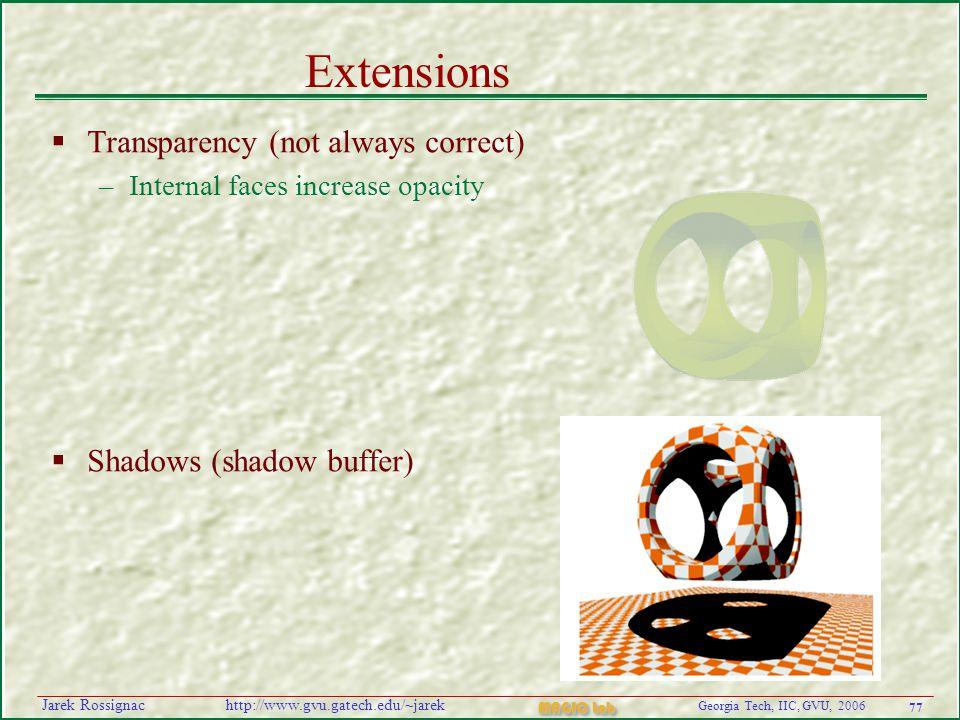77 Georgia Tech, IIC, GVU, 2006 MAGIC Lab http://www.gvu.gatech.edu/~jarekJarek Rossignac Extensions  Transparency (not always correct) –Internal faces increase opacity  Shadows (shadow buffer)